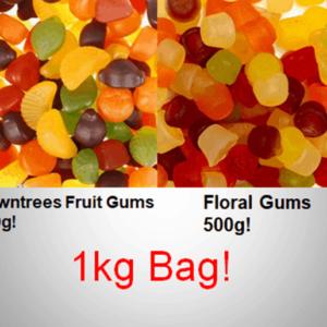 Rowntrees Fruit Gums + Floral Gums 1kg Bag